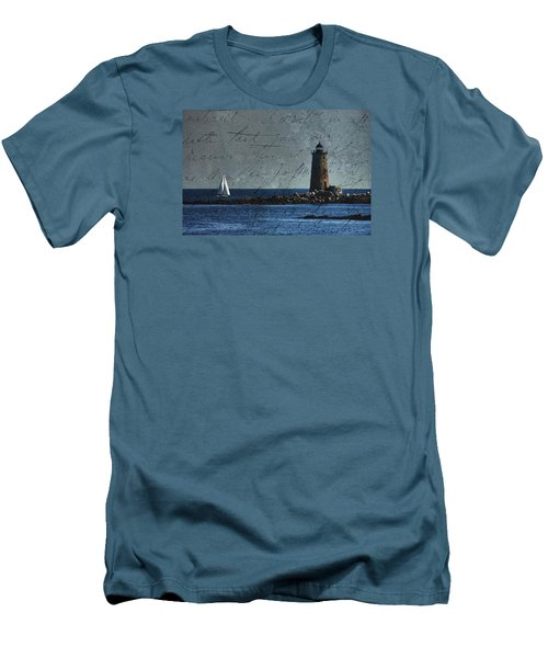 Men's T-Shirt (Slim Fit) featuring the photograph White Sails On Blue  by Jeff Folger
