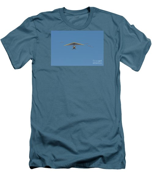 Men's T-Shirt (Slim Fit) featuring the photograph Whooping Cranes And Operation Migration Ultralight by Paul Rebmann