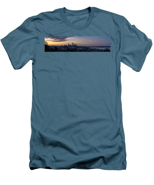Wide Seattle Morning Skyline Men's T-Shirt (Slim Fit) by Mike Reid