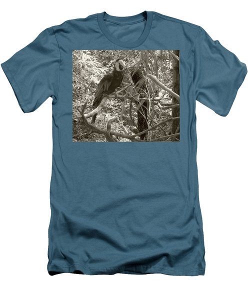 Men's T-Shirt (Slim Fit) featuring the photograph Wild Hawaiian Parrot Sepia by Joseph Baril