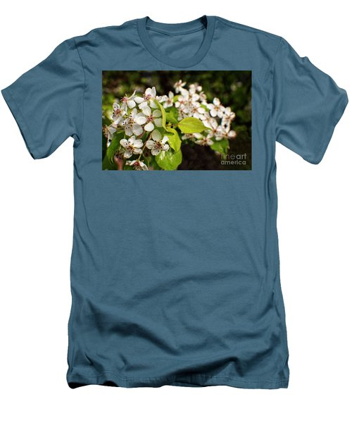 Wild Plum Blossoms Men's T-Shirt (Slim Fit) by Ella Kaye Dickey