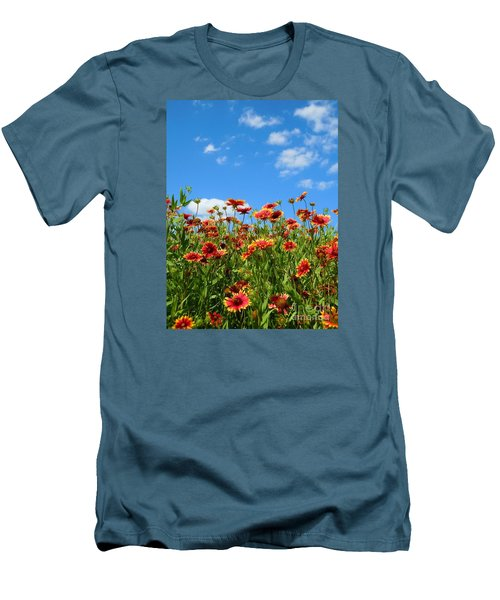 Men's T-Shirt (Slim Fit) featuring the photograph Wild Red Daisies #5 by Robert ONeil