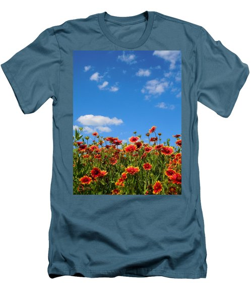 Men's T-Shirt (Slim Fit) featuring the photograph Wild Red Daisies #6 by Robert ONeil