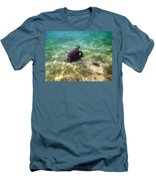 Men's T-Shirt (Slim Fit) featuring the photograph Wild Sea Turtle Underwater by Eti Reid