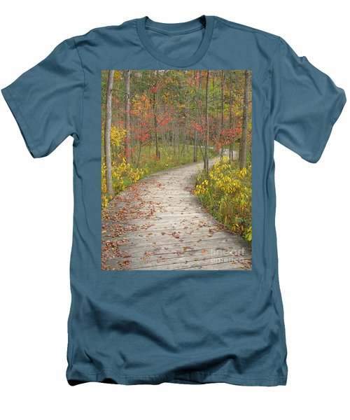 Men's T-Shirt (Slim Fit) featuring the photograph Winding Woods Walk by Ann Horn