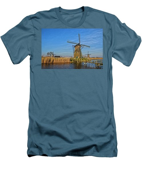 Windmills And Bridge Near Kinderdijk Men's T-Shirt (Athletic Fit)