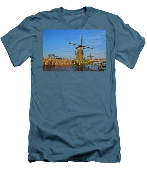 Windmills And Bridge Near Kinderdijk Men's T-Shirt (Slim Fit) by Frans Blok
