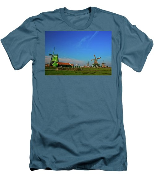 Windmills At Zaanse Schans Men's T-Shirt (Slim Fit) by Jonah  Anderson