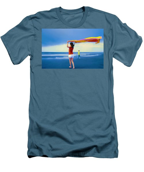 Children Playing On The Beach Men's T-Shirt (Athletic Fit)