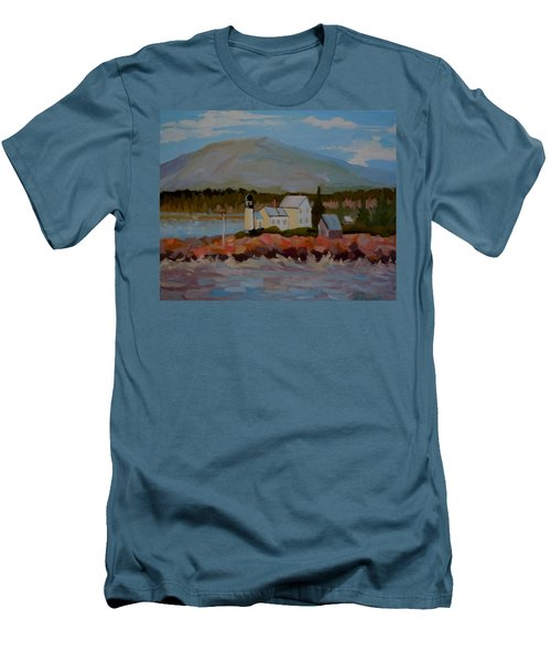 Winter Harbor Light Men's T-Shirt (Slim Fit) by Francine Frank