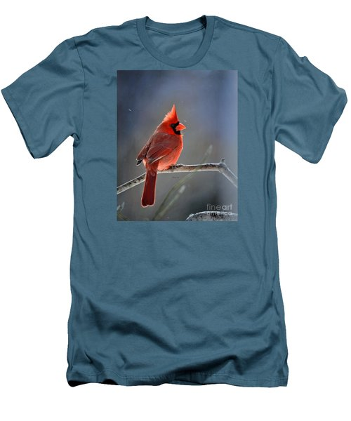 Winter Morning Cardinal Men's T-Shirt (Slim Fit) by Nava Thompson