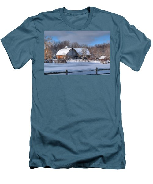 Men's T-Shirt (Slim Fit) featuring the photograph Winter On The Farm 14586 by Guy Whiteley