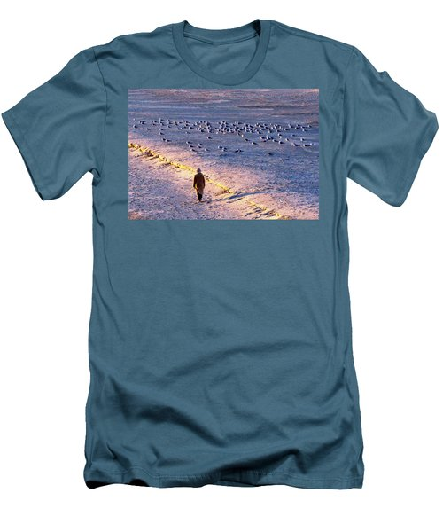 Men's T-Shirt (Slim Fit) featuring the photograph Winter Time At The Beach by Cynthia Guinn