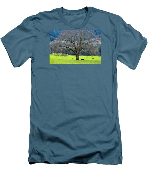 Winter Tree With Cows By The Umpqua River Men's T-Shirt (Slim Fit) by Michele Avanti