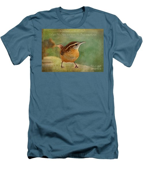 Wren With Verse Men's T-Shirt (Slim Fit) by Debbie Portwood