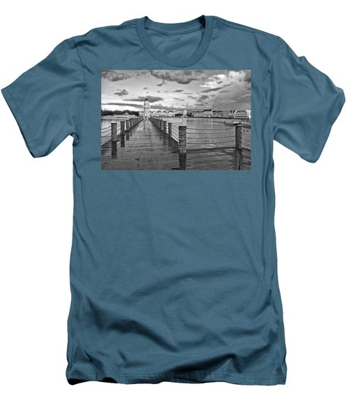 Yacht And Beach Lighthouse In Black And White Walt Disney World Men's T-Shirt (Slim Fit) by Thomas Woolworth