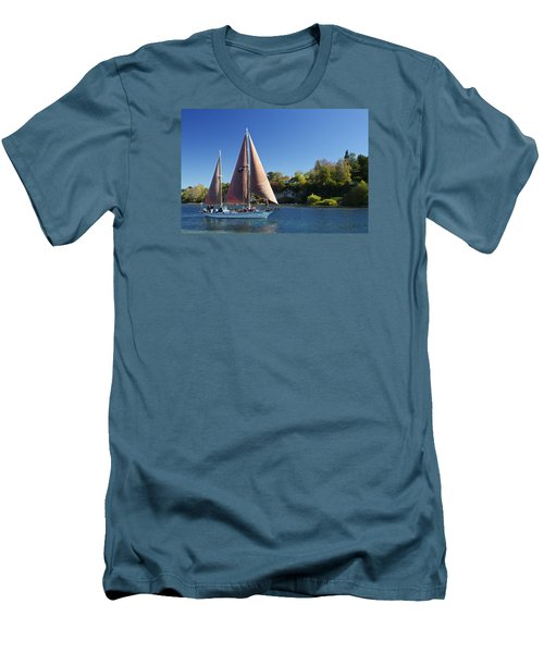 Yacht Fearless On Lake Taupo  Men's T-Shirt (Slim Fit) by Venetia Featherstone-Witty