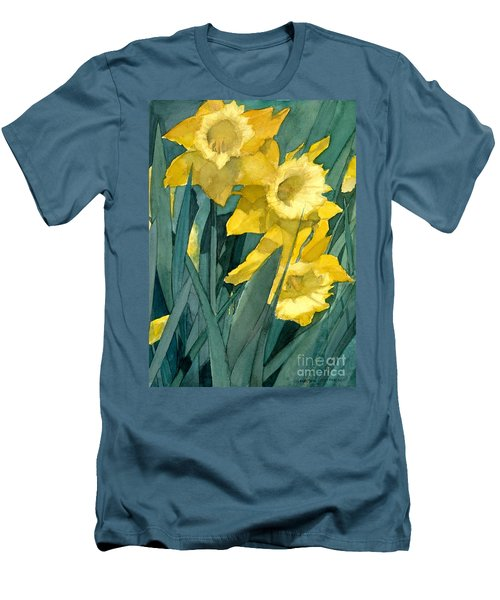 Men's T-Shirt (Slim Fit) featuring the painting Yellow Daffodils by Greta Corens