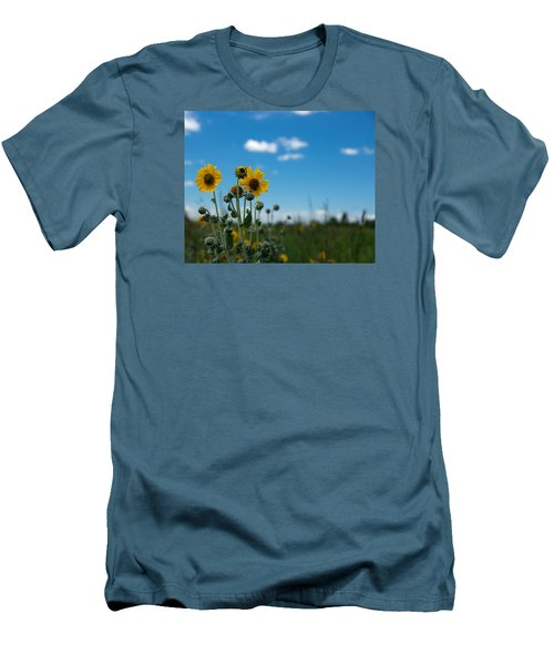 Yellow Flower On Blue Sky Men's T-Shirt (Athletic Fit)