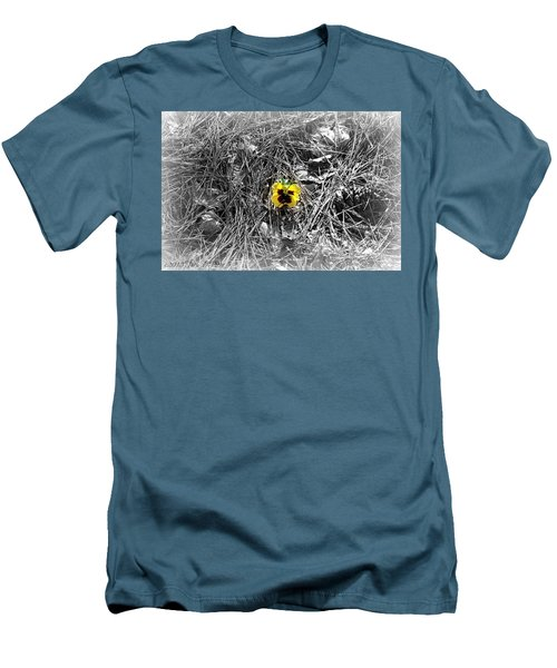 Men's T-Shirt (Slim Fit) featuring the photograph Yellow Pansy by Tara Potts