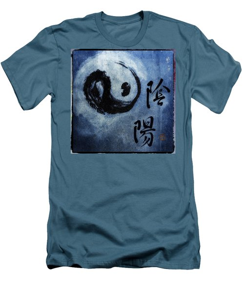 Men's T-Shirt (Slim Fit) featuring the photograph Yin  Yang Brush Calligraphy by Peter v Quenter