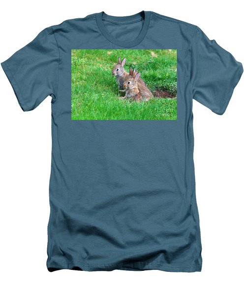 Men's T-Shirt (Slim Fit) featuring the photograph Young Rabbits by Nick  Biemans