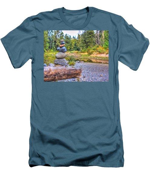 Men's T-Shirt (Slim Fit) featuring the photograph Zen Balanced Stones On A Tree by Eti Reid