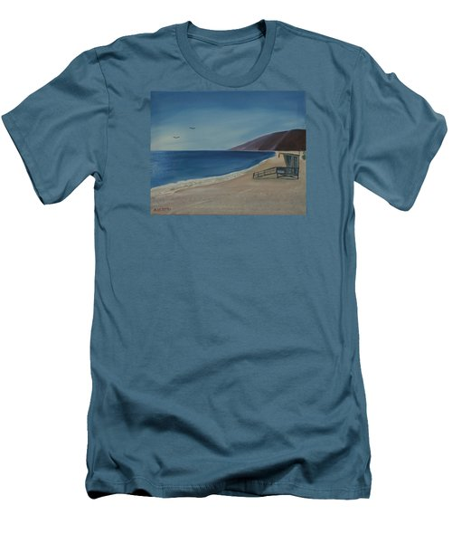 Men's T-Shirt (Slim Fit) featuring the painting Zuma Lifeguard Tower by Ian Donley