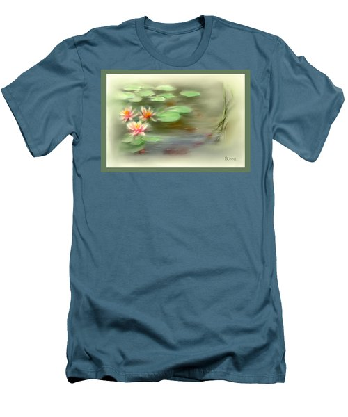 Men's T-Shirt (Slim Fit) featuring the painting  Gold Fish Pond by Bonnie Willis