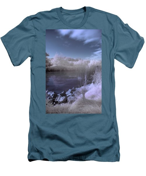 Men's T-Shirt (Slim Fit) featuring the photograph  Infrared Pond by Beverly Cash