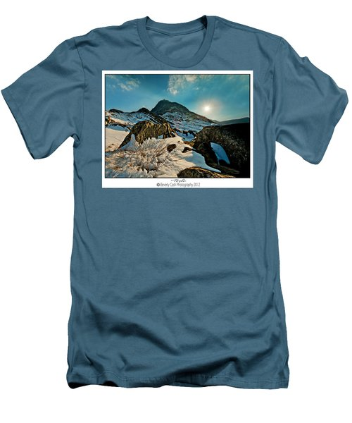 Spring Snows At Tryfan Men's T-Shirt (Slim Fit) by Beverly Cash