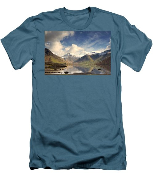 Men's T-Shirt (Slim Fit) featuring the photograph Mountains And Lake At Lake District by John Short