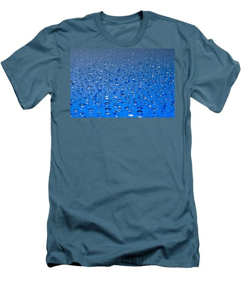 Men's T-Shirt (Slim Fit) featuring the photograph Water Drops On A Shiny Surface by Ulrich Schade