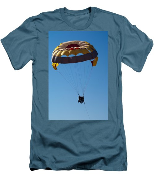 Men's T-Shirt (Slim Fit) featuring the photograph 3 People Para-sailing Pachmarhi by Ashish Agarwal