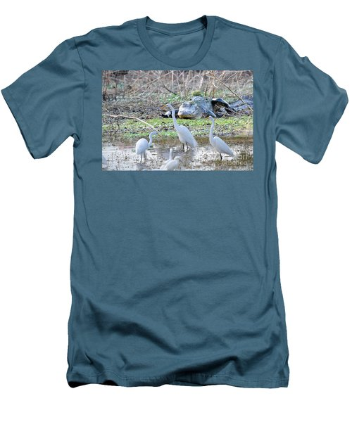 Men's T-Shirt (Slim Fit) featuring the photograph Alligator Looking For Food by Dan Friend