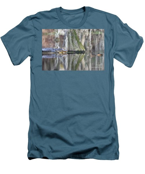 Men's T-Shirt (Slim Fit) featuring the photograph Alligator Waiting For Dinner by Dan Friend