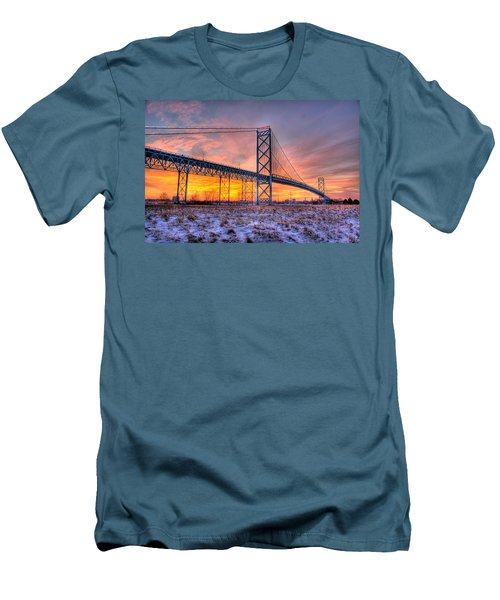 Ambassador Bridge Sunrise 1-16-2012  Detroit Mi Men's T-Shirt (Athletic Fit)