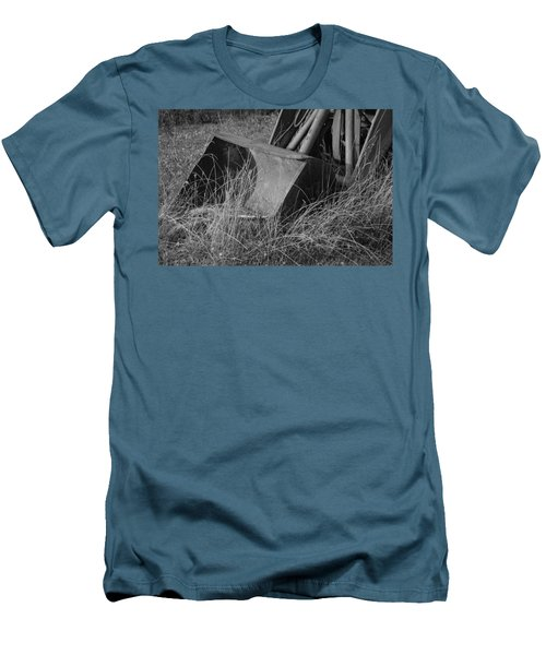 Men's T-Shirt (Slim Fit) featuring the photograph Antique Tractor Bucket In Black And White by Jennifer Ancker