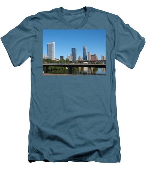 Austin Texas 2012 Skyline And Water Reflections Men's T-Shirt (Slim Fit) by Connie Fox