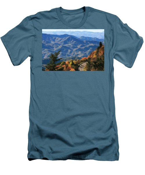 Autumn On The Blue Ridge Parkway Men's T-Shirt (Slim Fit) by Lynne Jenkins