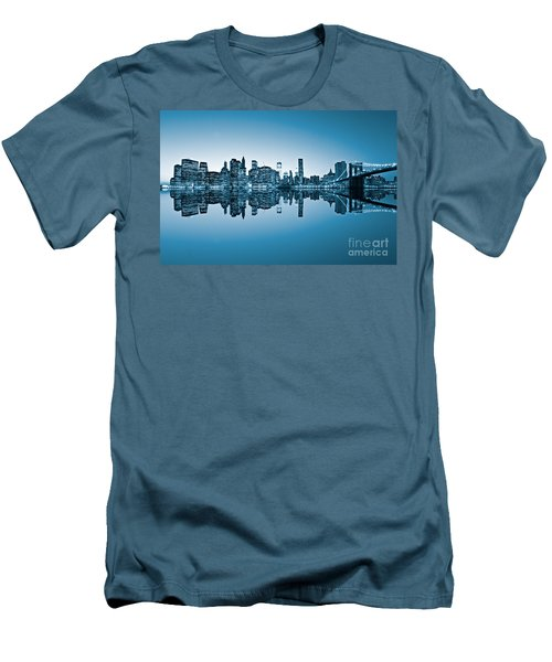 Men's T-Shirt (Slim Fit) featuring the photograph Blue New York City by Luciano Mortula