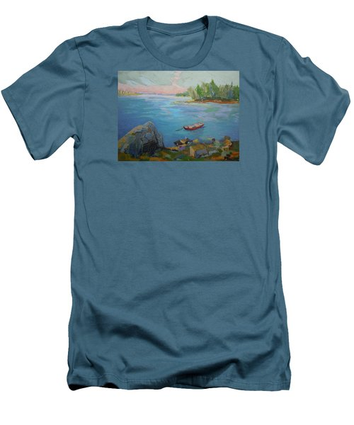 Boat And Bay Men's T-Shirt (Slim Fit) by Francine Frank