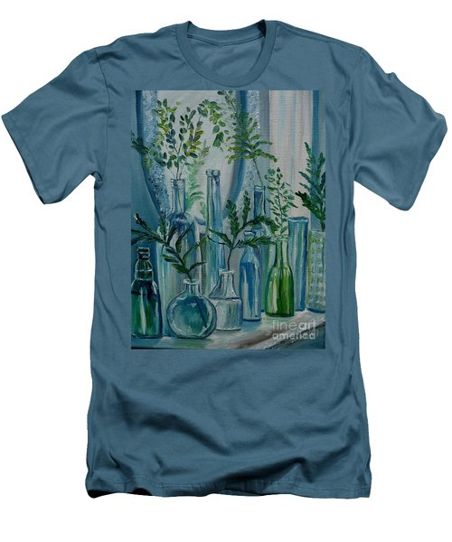 Men's T-Shirt (Slim Fit) featuring the painting Bottle Brigade by Julie Brugh Riffey