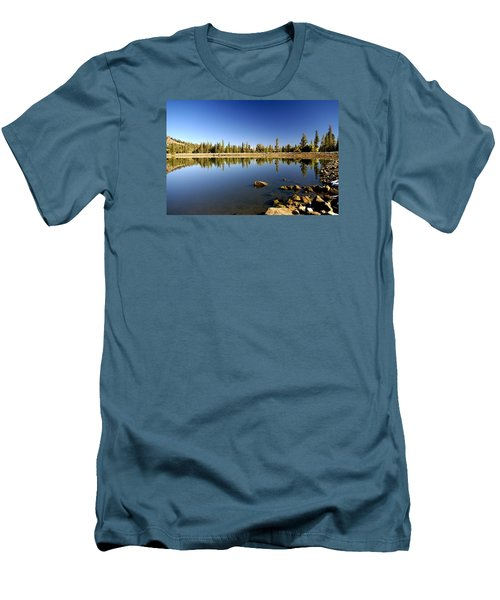Calm Day On Red Lake Men's T-Shirt (Slim Fit) by Michael Courtney