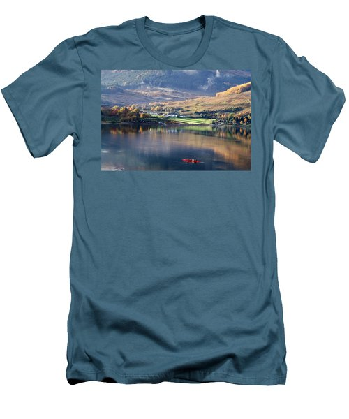 Men's T-Shirt (Slim Fit) featuring the photograph Canoeing On Loch Goil by Lynn Bolt