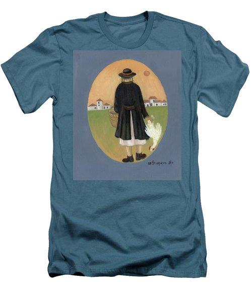 Caparot Rooster Hasid Back View Jewish Religious In Blue Yellow Black Green  Men's T-Shirt (Slim Fit) by Rachel Hershkovitz