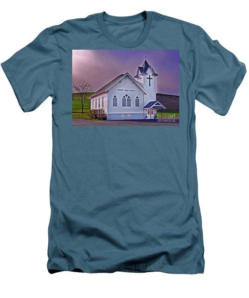 Country Church At Sunset Art Prints Men's T-Shirt (Slim Fit) by Valerie Garner