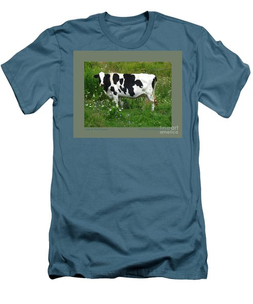 Cow In The Flowers Men's T-Shirt (Slim Fit) by Patricia Overmoyer