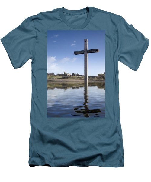 Men's T-Shirt (Slim Fit) featuring the photograph Cross In Water, Bewick, England by John Short