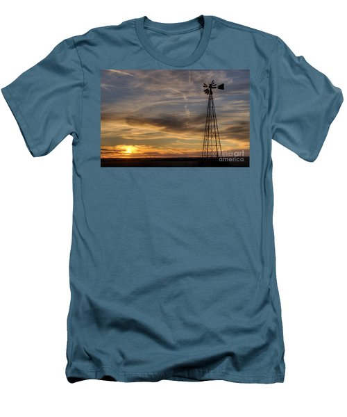 Dark Sunset With Windmill Men's T-Shirt (Slim Fit) by Art Whitton
